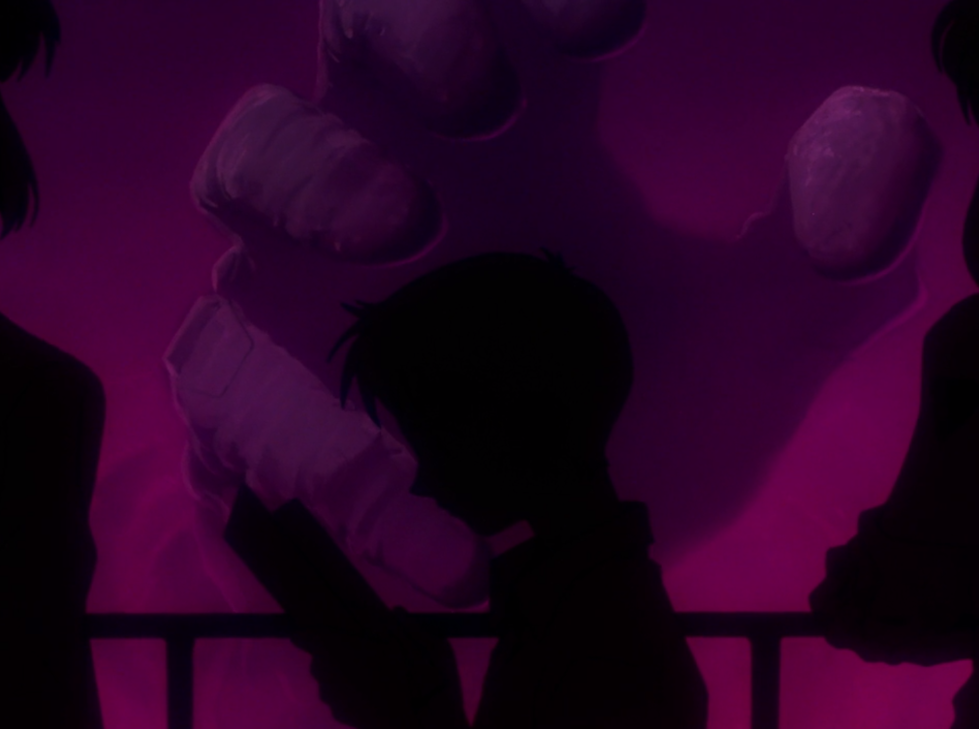 Shinji in front of hand in episode 1